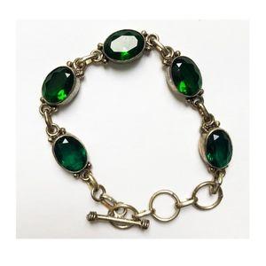 Bracelet Green & Aqua Rhinestones